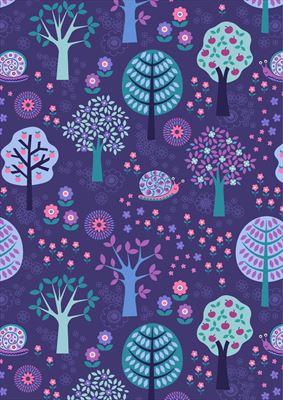 Flower Child- Groovy Forest- Dark Blue
