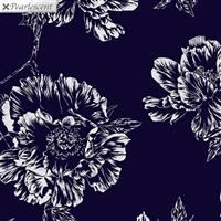 Violet Twilight- Pearl Shadow Flowers- Navy