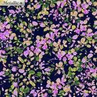 3/4 Yard: Watercolor Wishes- Petal Party- Navy/Lilac/Metallic