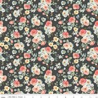 Gingham Gardens- Floral- Charcoal