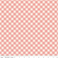 Gingham Gardens- Check- Coral