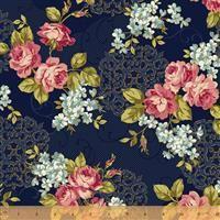 Spellbound- Floral Medallion-Navy/Metallic