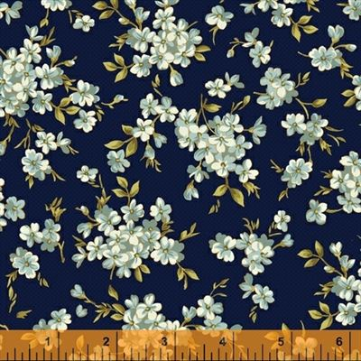 Spellbound- Floral Cluters-Navy/Metallic
