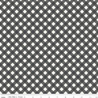 Gingham Gardens- Check- Charcoal