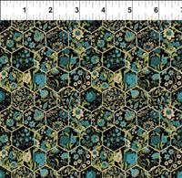 Garden Delights III- Hexagons- Teal